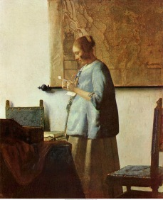 Note: this is an edited version of the original scan English: Woman in Blue Reading a Letter Date: after 1664 Medium: oil on canvas Dimensions: 46,5 × 39 cm Location: Rijksmuseum, Amsterdam